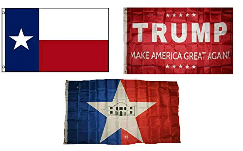 (ALBATROS 3 ft x 5 ft Trump Red with State Texas with City San Antonio Set Flag for Home and Parades, Official Party, All Weather Indoors)