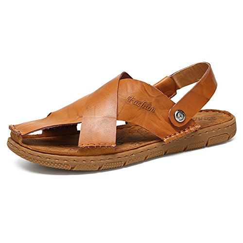 Sandals for Men, Slippers Men's Summer Genuine Leather Beach Slippers Men, Casual Non-Slip Soft Flat Closed Toe Sandals (Color... Parent B07CWB9DX4 d81482