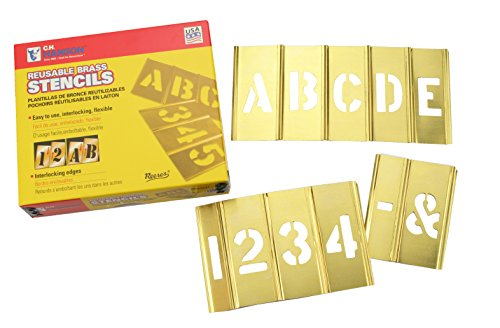Box Partners STBLN3 Brass Stencil Set of Gothic Style Letters & Numbers, 45 Pieces, 3""