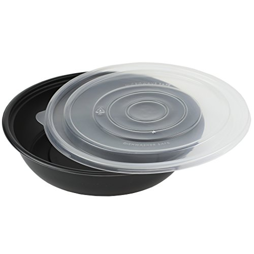 Simply Deliver 8-inch Round Base Plastic Take-Out Bowl with Clear Lid, Microwavable and Dishwasher Safe, Black, 160-Count by Simply Deliver