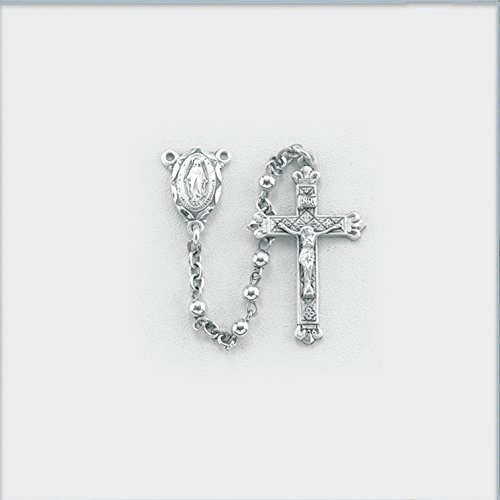 Sterling Silver Rosary, 3mm High Polished Sterling Round Beads with Scalloped Edge Miraculous Center and Finely Detailed 1-3/16