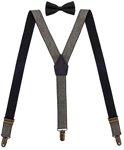 ORSKY Ladies Suspenders and Bow Tie Set Adjustable with Bronze Metal Clips 48'' Shiny Gold
