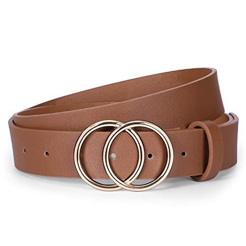 Ladies Leather Suit - Women Leather Jeans Belt for Pants, Ladies Plus Size Waist Belts Double Ring Buckle By WERFORU