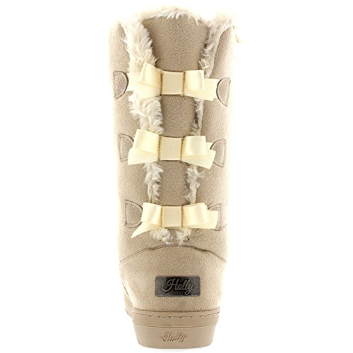 Womens Triplet Bow Tall Classic Waterproof Winter Rain Snow Boots Beige cuJlS7NPlF