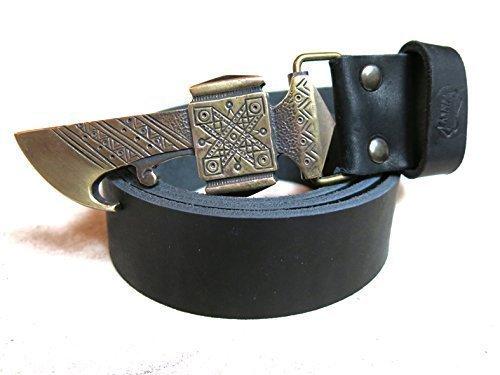 "Genuine Leather Belt With Axe Belt Buckle ""Bartka"""