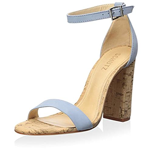Schutz Women's Enida Cork Block Heel Sandal, Jeans/ Nobuck, 6 M US