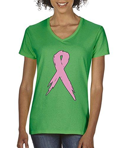 New Way 796 - Women's V-Neck T-Shirt Pink Ribbon Breast Cancer Awareness XL Kelly (Pink Ribbon Green T-shirt)