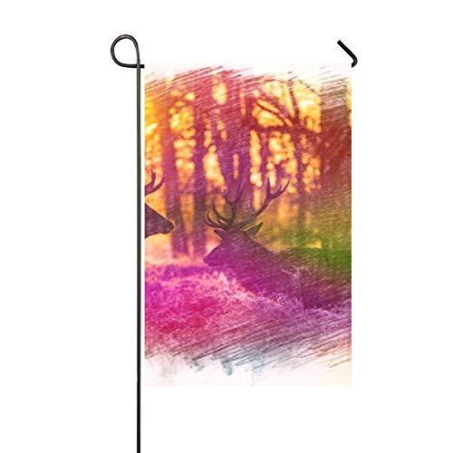Lucy Curme Deers And Sunrise Seasonal Garden Flag, Double-si
