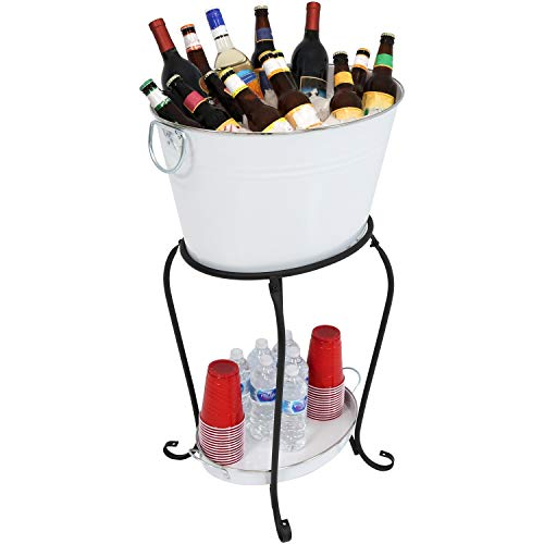 Sunnydaze Large Ice Bucket Beverage Holder with Stand and Tray for Parties, White Finish, Holds Beer, Wine, Champagne and More