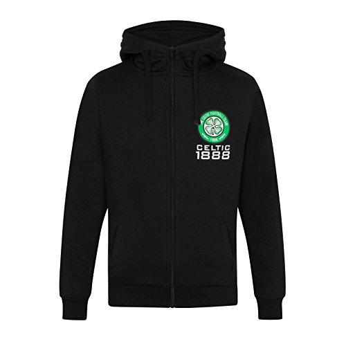 - Celtic FC Official Soccer Gift Mens Fleece Zip Hoody Black XL