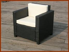 Salon de jardin en résine tressée 4 places noir Perugia fauteuil canapé