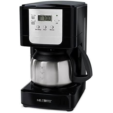 Mr. Coffee JWX9 RB 5 Cup Programmable Coffeemaker, Black With Stainless  Steel
