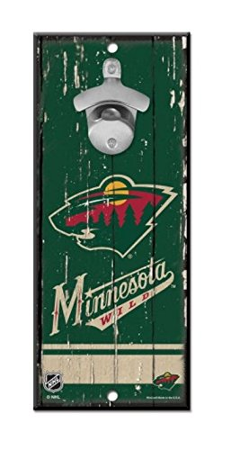 NHL Minnesota Wild 5''x11'' inch Wood Bottle Opener ()