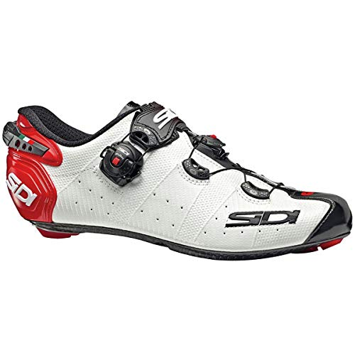 Sidi Wire 2 Carbon Cycling Shoe - Men's White/Black/Red, 44.0 (Sidi Wire Carbon Air Vernice Road Shoes 2015)