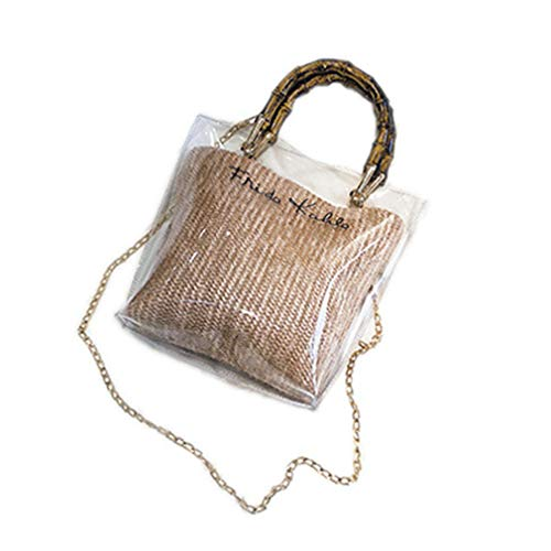 - ANANXILA Summer NEW Small Handbag Transparent Women Chain Straw Bag Cross Body Bag Khaki