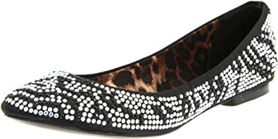 Betsey Johnson Women's Smoooch Ballet Flat,Zebra,5.5 M US