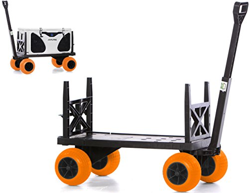 t Box Carrier Wagon with on Wheels Igloo Yeti Coleman Pelican Grizzly Hauler (Orange Wheels) ()