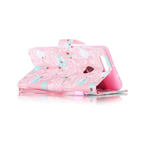 Para Honor 8móvil, piel sintética de alta calidad de móvil con cierre magnético Flip Cover Funda Piel [Tarjetero] funda piel cartera Executive Diseño (+ Polvo Conector & # xff09; blanco 9 9