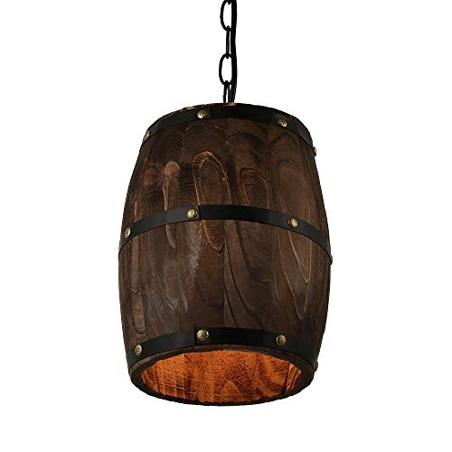 - Newrays Antique Wood Wine Barrel Pendant Lamp Hanging Rustic Unique Kitchen Bar Ceiling Lamp Light Fixtures (XS)