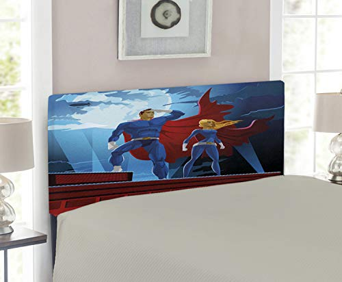 - Lunarable Superhero Headboard for Twin Size Bed, Heroic Couple on Mission Saving The World Justice Defenders of Good Print, Upholstered Decorative Metal Headboard with Memory Foam, Violet Blue Ruby