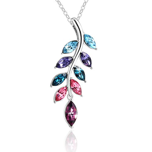 PLATO H 925 Sterling Silver Tears of Angel Pendant Necklace with Crystal from Swarovski, ♥Gift Boxed Swarovski Crystal Necklace for Women, Fashion Jewelry Birthday Gift for Girlfriend, Wife or Mom,18
