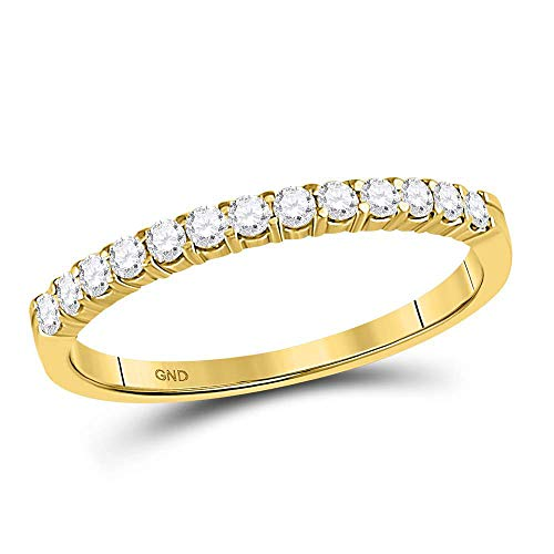 Jewels By Lux 14kt Yellow Gold Womens Round Diamond Single Row Comfort Wedding Band 1/4 Cttw In Prong Setting (I2-I3 clarity; I-J color) Ring Size 7 - Ladies Single Diamond Band