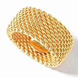 10MM 18K-GOLD PLATED .925 Sterling Silver WOVEN Flexible Somerset Mesh Screen Ring 5-10