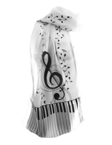 New Company Womens G Clef Piano Keys Music Scarf - White - One Size