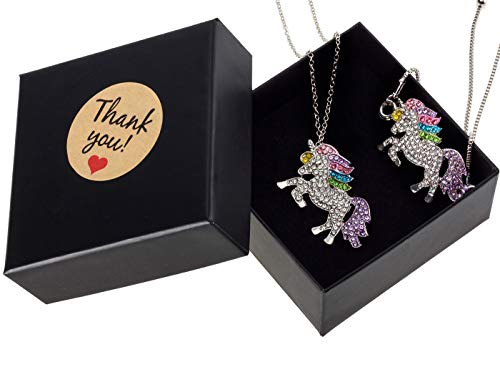 Solovey 2 Pack Rainbow Unicorn Necklace Bracelet(with Elegant Box) Pendant Unicorn Jewelry Gift for Girls Women Best Friend -