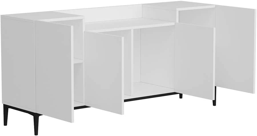 Homemania - Mueble Multiusos, aglomerado de melamina, Metal, Blanco, Negro: Amazon.es: Hogar
