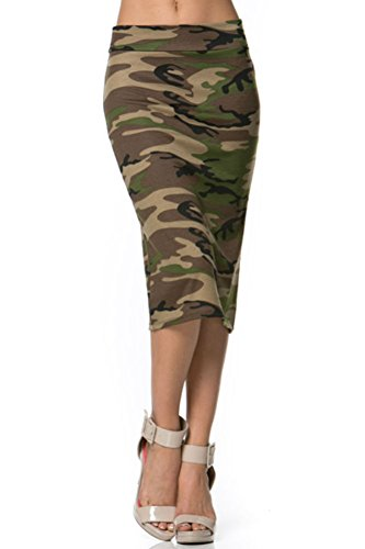 Azules Women's below the Knee Pencil Skirt - Made in USA, Camoflage, Medium
