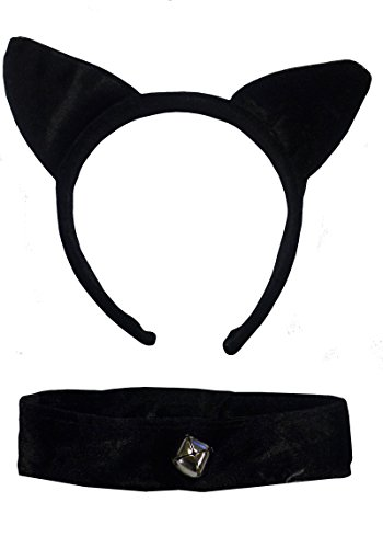 Cat Ears & Collar Black Velvet: Gothic Fancy Dress Halloween Fantasy Games by DangerousFX ()