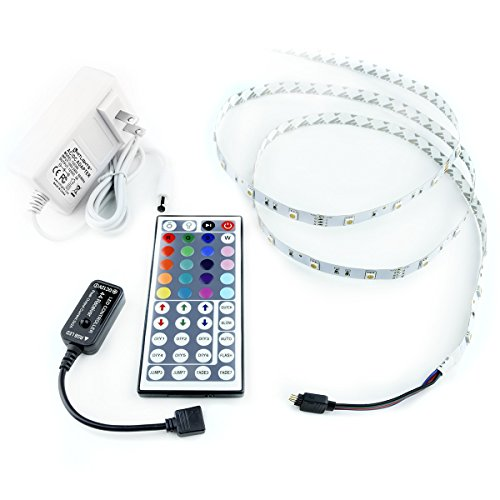RGB 300 LED Light Strip Kit - 16.4 Foot Multicolor SMD 5050 Strips with Adhesive, 44 Key Remote & Power Supply - Cuttable, Connectable, & Customizable - For TV, PC, Kitchens, Decks & More