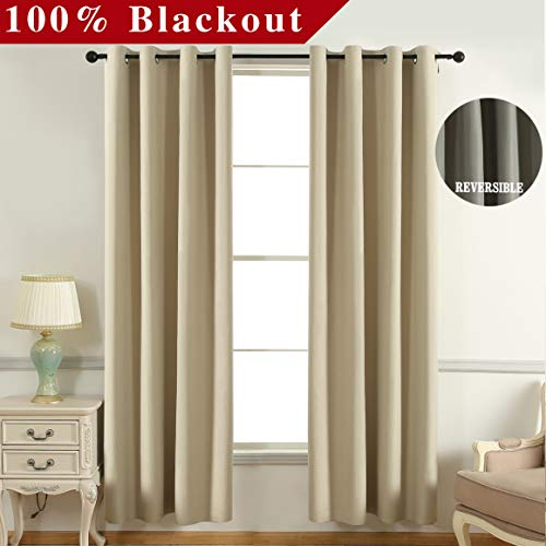 JC JACK&CATHERINE Bicolor Reversible 100% Blackout Curtains Water Repellent Thermal Insulated Grommet Curtain for Bedroom, 52 x 84 inch, Khaki and Grey, Set of 2 - Reversible Thermal