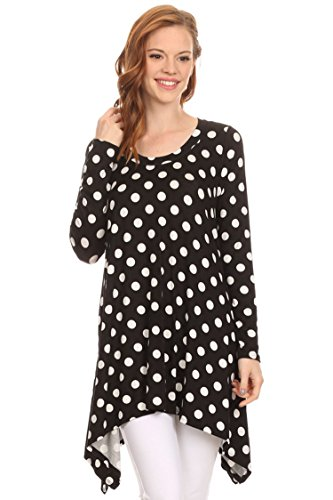Loose Fit Round Neck Long Sleeves Tunic Top/Made in USA Black Polka Dot - In Dot Dress Womens Polka