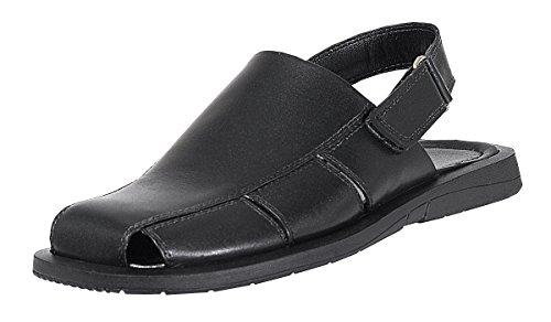 Mario Pellino Mens Casual Sandals Handmade Genuine Leather Sandals For Mens (42 M EU/10-10.5 B(M) US, Black)