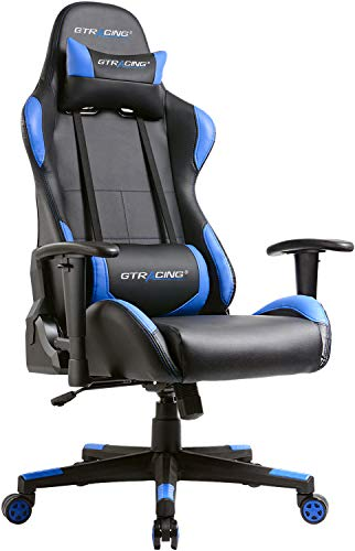 GTracing Gaming Chair Ergonomic Racing Chair PU Leather High-Back PC Computer Chair Adjustable Height Professional E-Sports Chair with Headrest and Lumbar Pillows GTBEE Series Blue