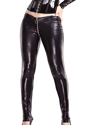 Darque Womens Black Rubber Look Zip Around Pants (Back Zip Pant)