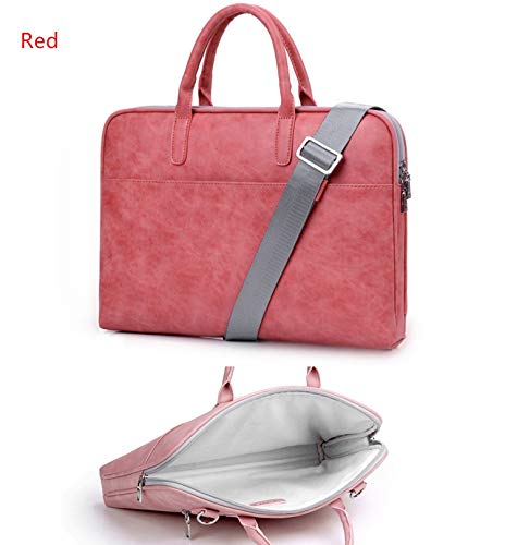 Fashion Pu Leather Laptop Bags for Women MacBook Air 13 Inch Casual Portable Waterproof Notebook Bag,Red,13.3 Inch