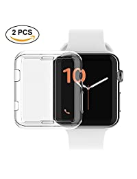 LaingGui 2 Pack Apple Watch 3 Screen Protector, Iwatch Case TPU All-around 0.8mm/ 0.03inch Ultra-thin Cover for Apple Watch Series 2 and 3 42mm/ 1.65inch