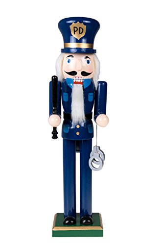 "Traditional Police Officer Christmas Wooden Nutcracker by Clever Creations | Holding Handcuffs & Baton | Festive Holiday Décor | Wearing Blue Uniform | 100% Wood | 15"" Tall"
