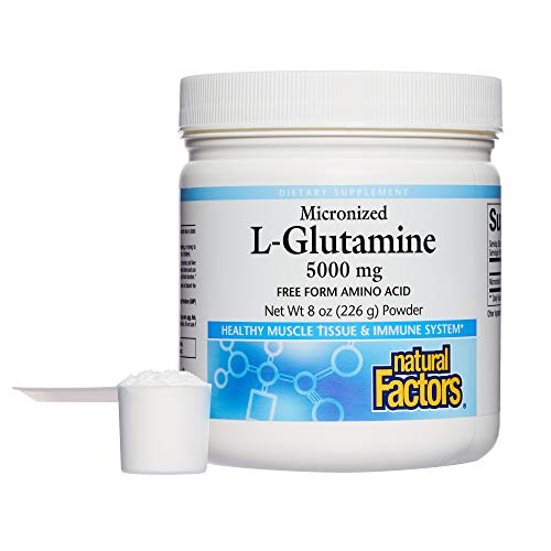 Natural Factors - Micronized L-Glutamine 5000mg, Support for Muscle Tissue & Immune System, 45 Servings (8 oz) by Natural Factors