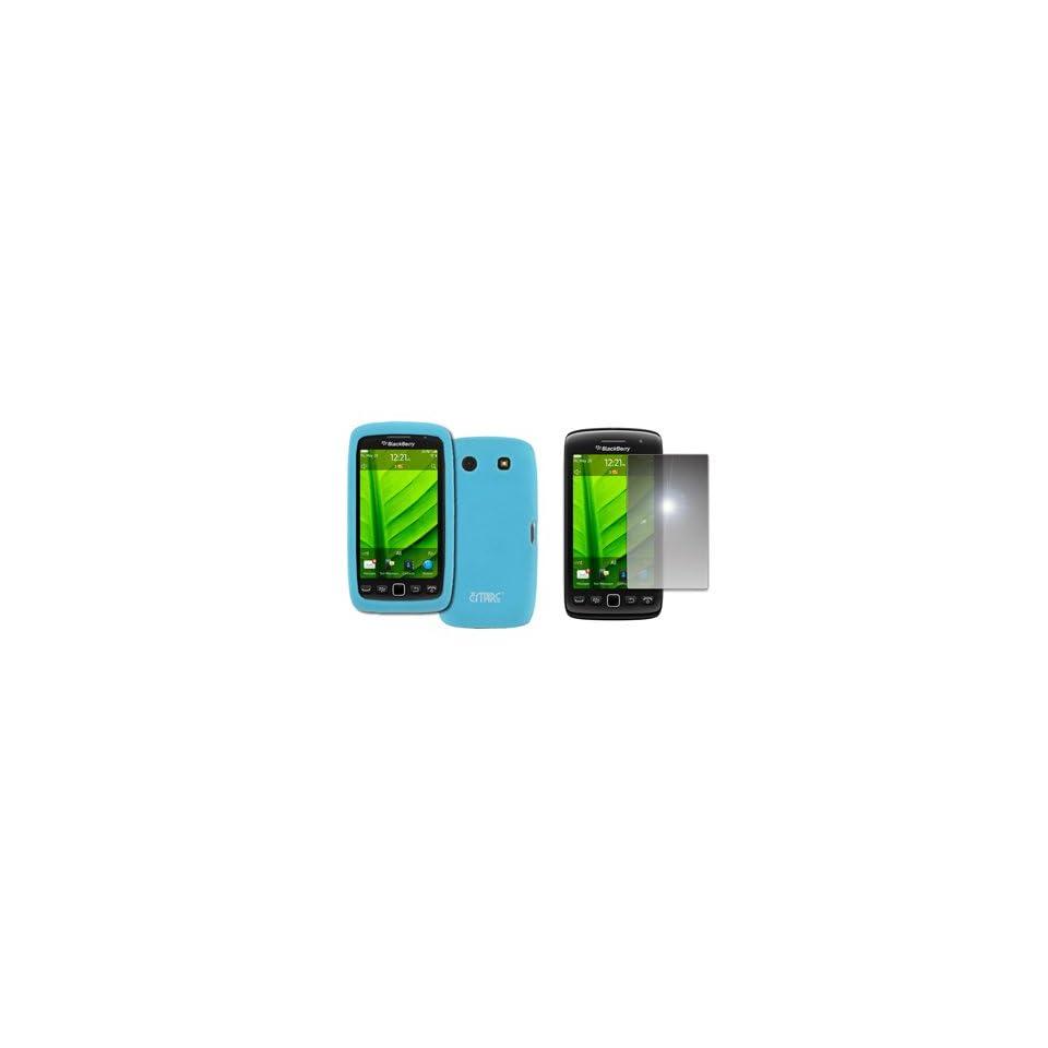 EMPIRE Light Blue Silicone Skin Case Cover + Mirror Screen Protector for Verizon BlackBerry Storm 3 9570
