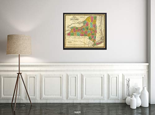 1831 Map|State of New York|Historic Antique Vintage Reprint|Size: 20x24|Ready to Frame ()