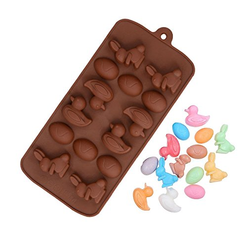 4 Egg Bunny Duck Silicone Soap mold Candy Chocolate Fondant