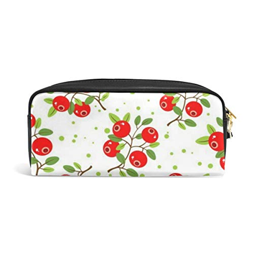 Pencil Case Big Capacity Pencil Bag Makeup Pen Pouch Stylized Cranberry with Leaves Durable Students Stationery Pen Holder for School/Office