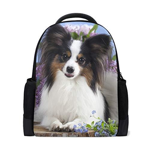 Papillon Dog Butterfly Print Laptop Backpack High School Bookbag Casual Travel Daypack