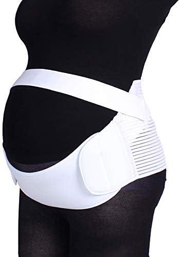 妊娠中の女性のための特別なベルトは、腰痛と秋のベルト妊娠サポートウエスト/背中/腹部バンドの腹部装具を緩和します,白,L