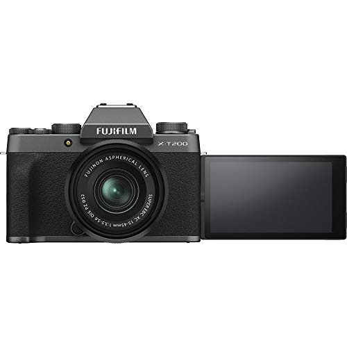Fujifilm X-T200 Mirrorless Digital Camera with 15-45mm Lens (Dark Silver) Bundle: Includes, SanDisk 64GB SDXC Memory Card, Card Reader, Memory Card Wallet and Lens Cleaning Kit (5 Items)