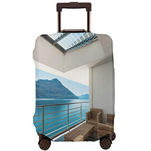 (Travel Luggage Cover,Summer Penthouse Veranda Balcony With Sea Ocean View Suitcase Protector)